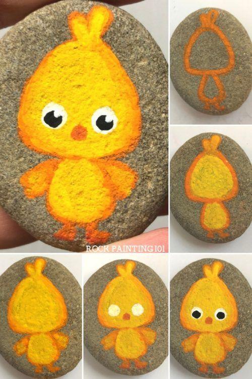 Legende Wie man einfache, mit Küken bemalte Steine herstellt, die perfekt für Ostern sind