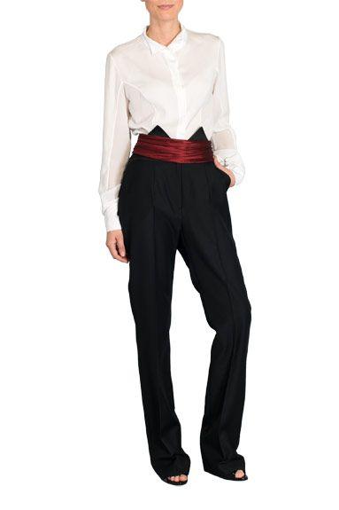 Blusa blanca de manga larga de Lesmoking