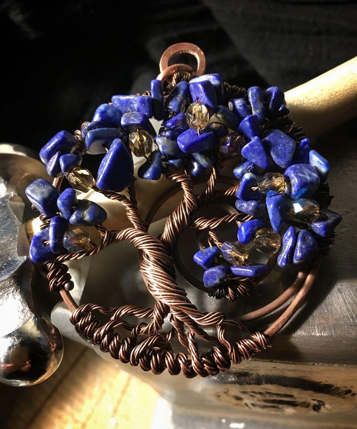 Medaglione albero della vita rame e lapislazzuli - tree of life copper wire