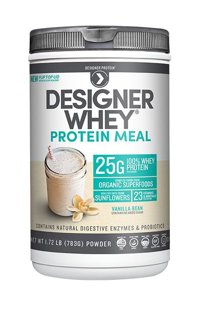 Designer Whey Protein Meal- Meal replacement shake with 25g whey protein + #organic #superfood complex carbs, healthy fats. Learn more on designerprotein.com.