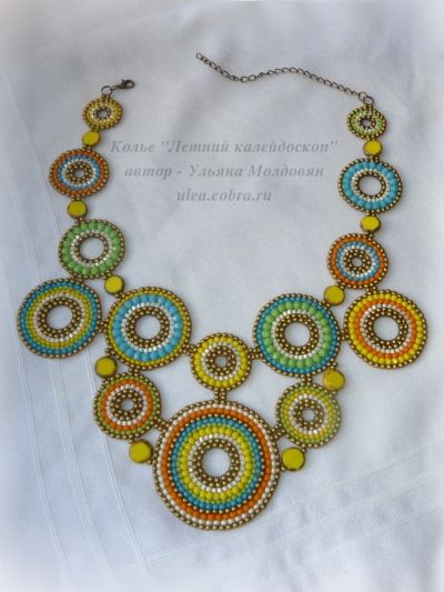 "Beaded necklace ""Summer kaleidoscope"". Beaded color circles. Jewelry by Ulyana Moldovyan."