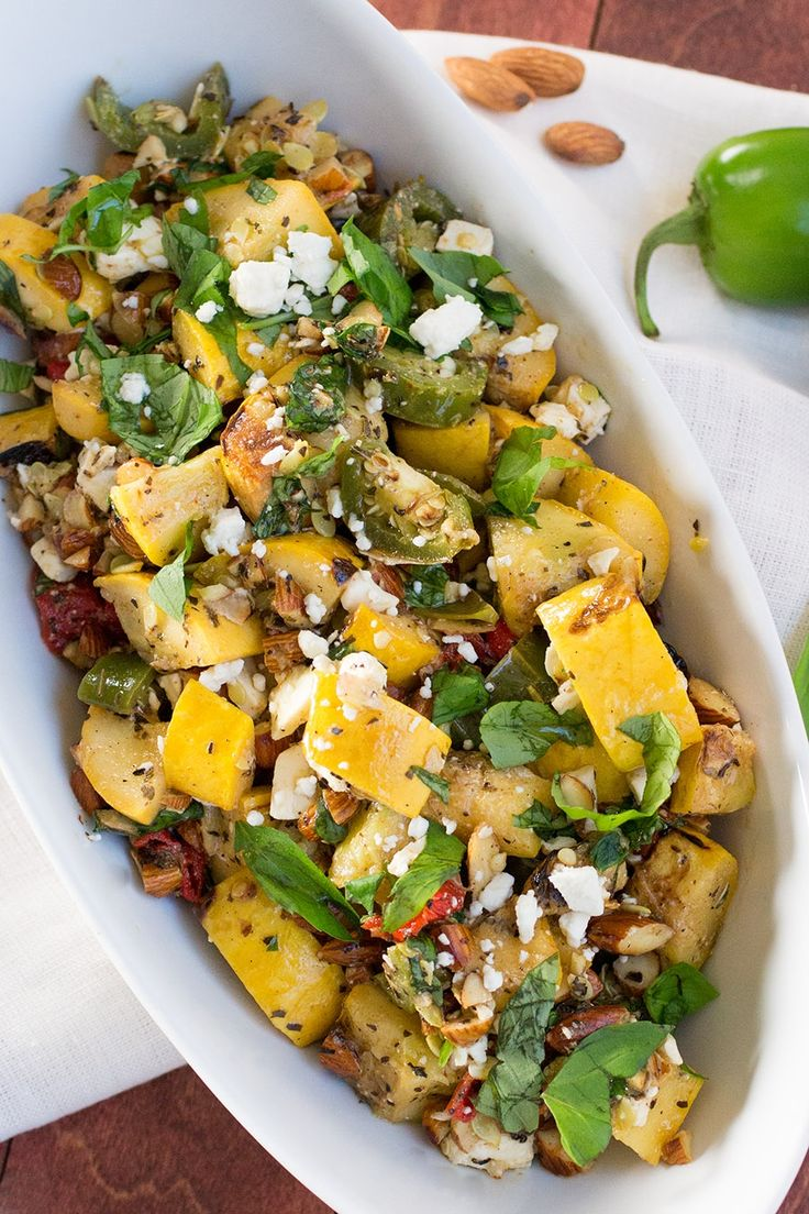 Grilled Summer Squash with Peppers, Basil and Feta – Recipe