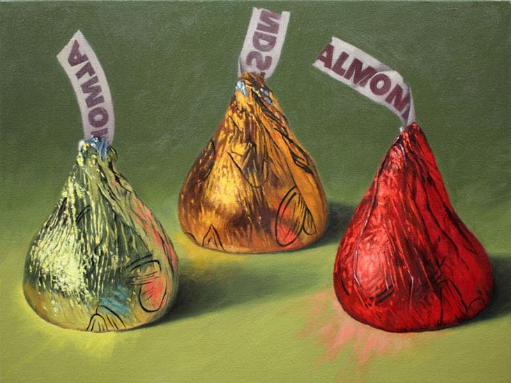 "NY Artist Douglas Newton: Three Almond Kisses, oil, 18""x24,"