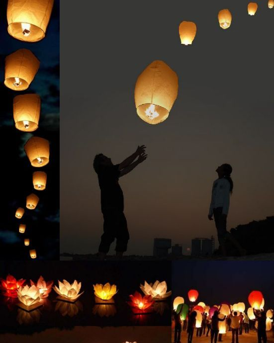 Sky Lanterns: Biodegradable and flame retardant mini air balloons available in wedding packs of 100 in varying sizes.