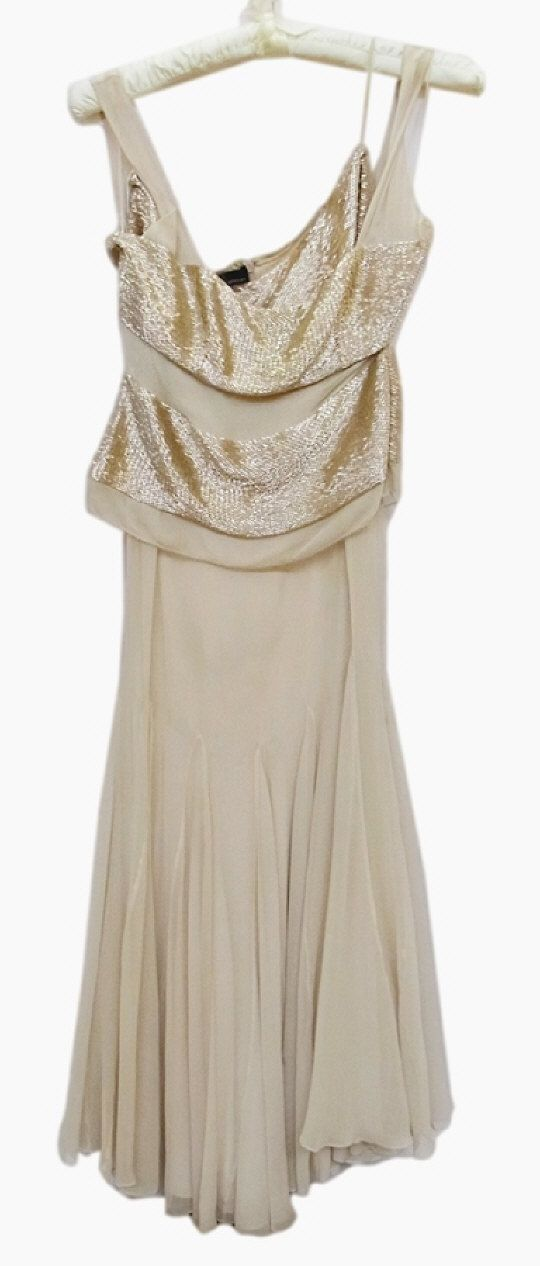 Amanda Wakeley chiffon evening dress, decorated with bands of bugle beads. Estimate £100.00 to £200.00 (Lot no: 378 in sale on 05/08/2014) The Cotswold Auction Company