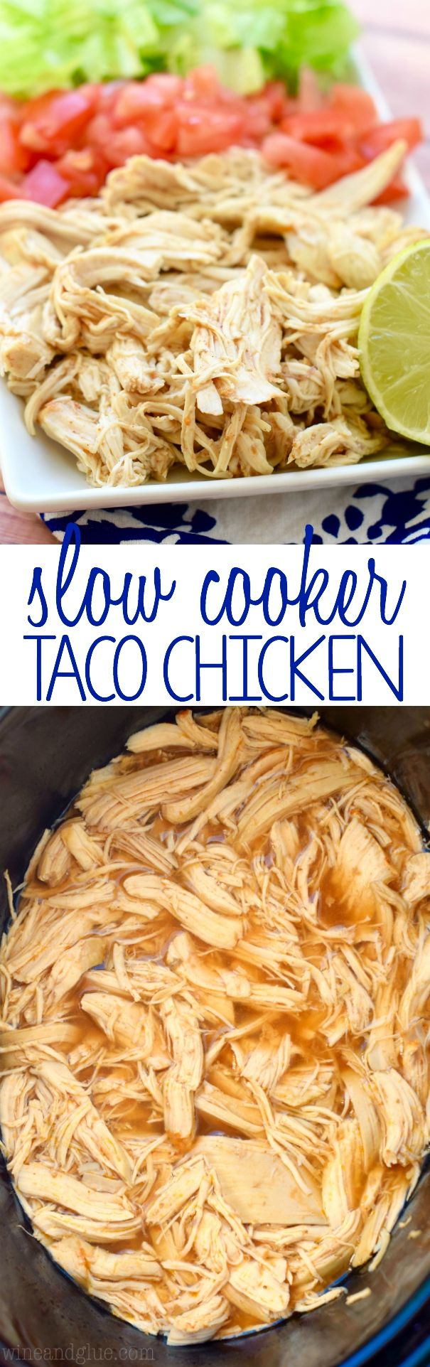 This Slow Cooker Taco Chicken is super simple to make, but it is the start of so many delicious dinners! It needs to be part of your regular dinner rotations!: