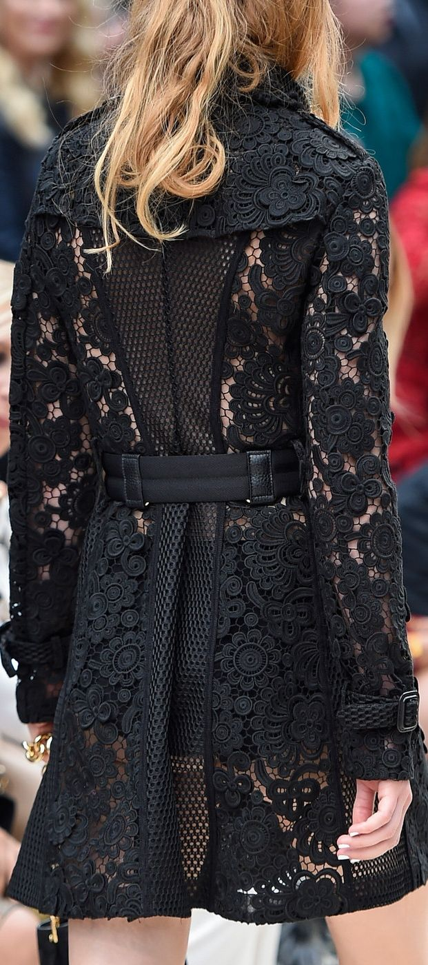 Burberry Prorsum Spring 2016 ~ black lace trench coat - a twist on a classic style - London Fashion Week...x