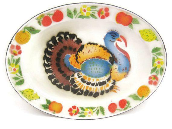 Vintage Enamel Turkey Platter by GrannyBeansBoutique on Etsy