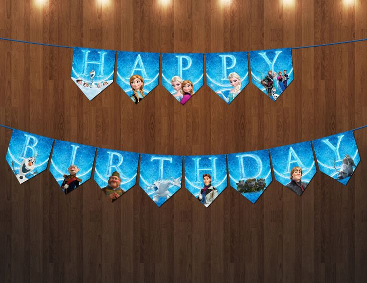 Disney Frozen Birthday party Banner 10x8 inch digital by VintageDS, $9.99