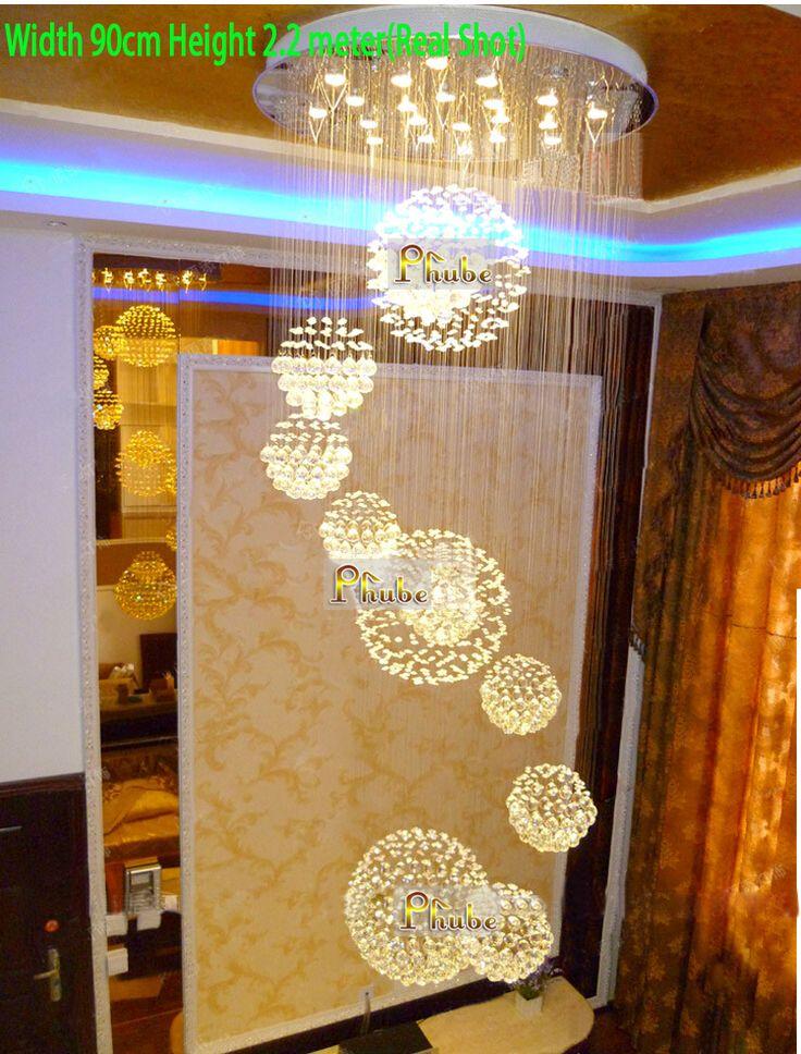 Accesorio de iluminación colgante de luz LED de gran tamaño moderno vestíbulo de cristal (ancho 90 cm, 100 cm y 120 cm) Garantizado 100% + Free!