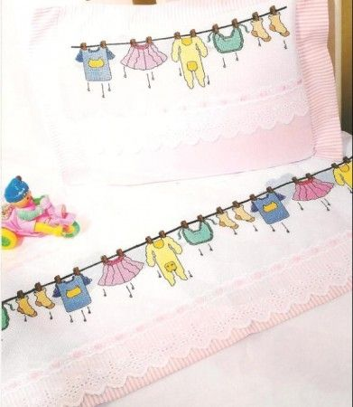 ... » çamaşır desenli kanaviçe işleme beyaz bebek pike takımı