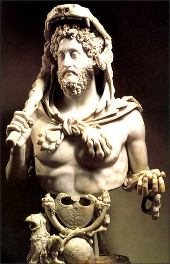 "Commodus - as Hercules. The 18th Emperor of Rome. The first Emperor to be ""born to the purple"" - born to a sitting emperor. One of the worst emperors."