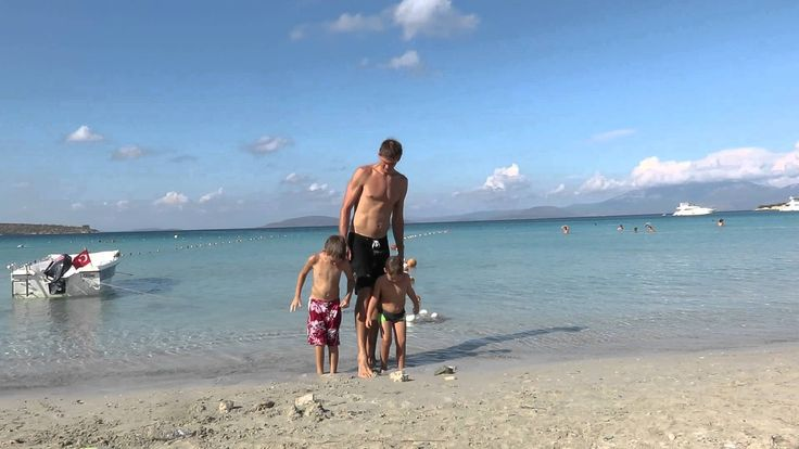 Ceseme Beach, Boys burry feet in Sand. Gianna shares her snack and Trish...