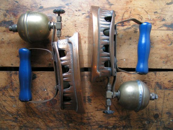 Pair of Vintage Gas Powered Irons with Blue Handles
