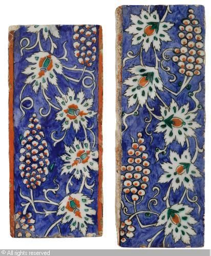 IZNIK CERAMIC, 16 > (Turkey)  Title : BORDER TILES, (2)  Date : ca 1580/1585  BORDER TILES, (2) sold by Sotheby's, London, on Tuesday, April 24, 2012