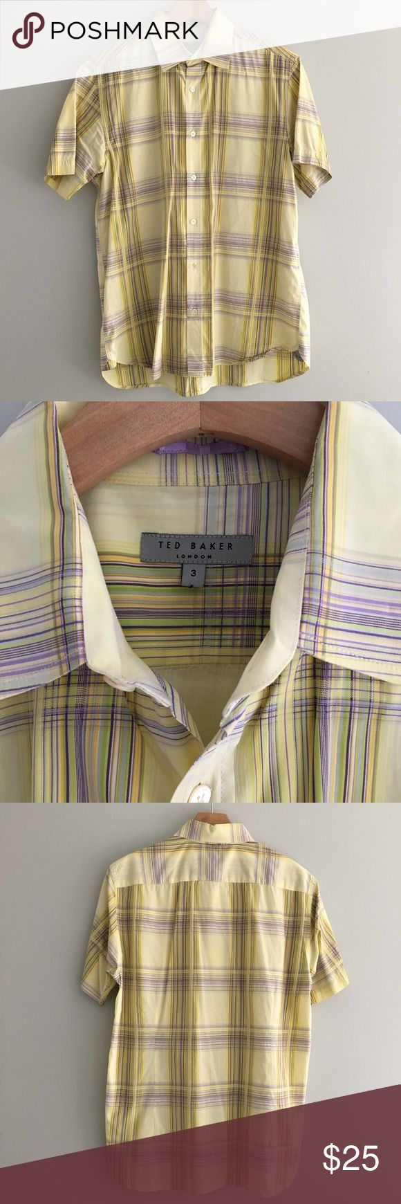 "Men's Ted Baker Short Sleeve Plaid Shirt Men's Ted Baker short sleeve bottom down woven shirt in yellow plaid with touches of green, blue, and purple.  Front measures 27"" and back measures 28"" from shoulder to hem. No signs of damage from previous wears.  Size 3 in UK sizing is a medium in the USA. Ted Baker Shirts Casual Button Down Shirts"