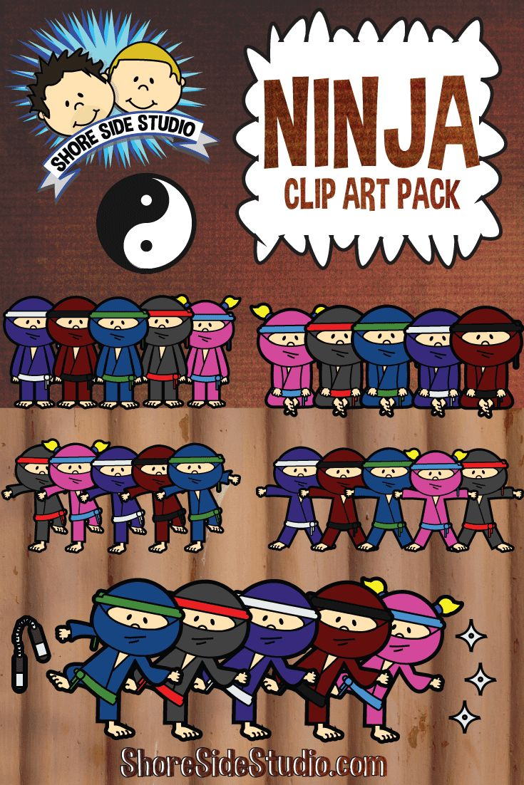Shore Side Studio is proud to present our latest clip art pack. Ninja Kids. For more information or to purchase our Ninja Kids clip art pack. https://www.teacherspayteachers.com/Product/Ninja-Kids-1797252