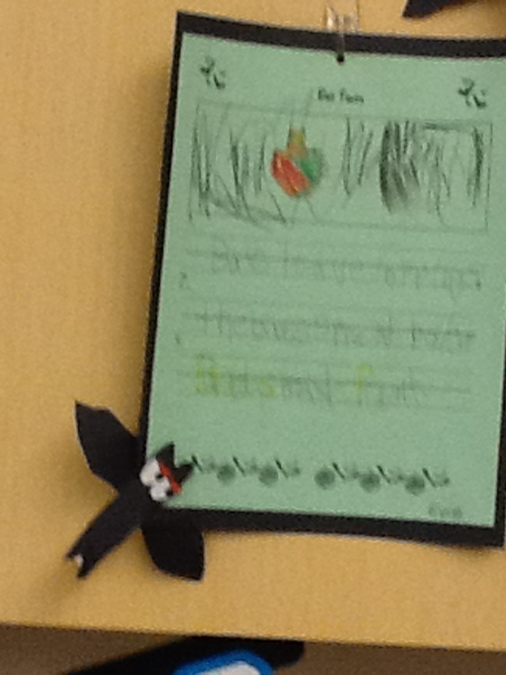 The Kindergarten students wrote facts about bats after reading an informational book.