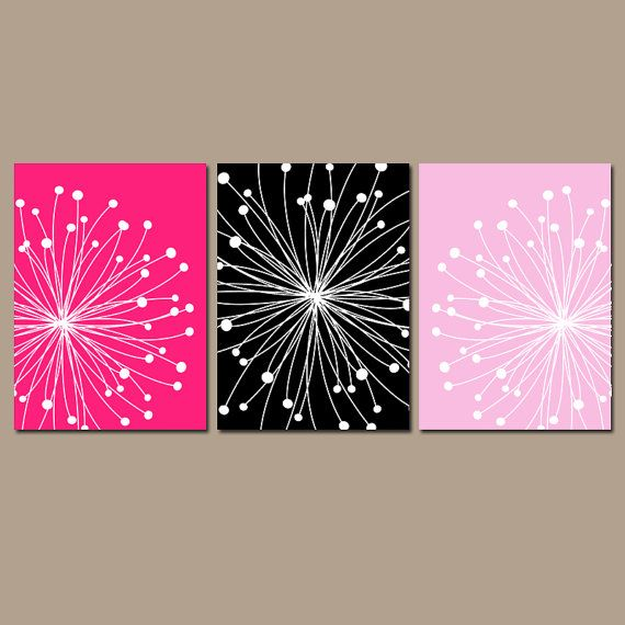 DANDELION Wall Art CANVAS or Prints Hot Pink Black by TRMdesign
