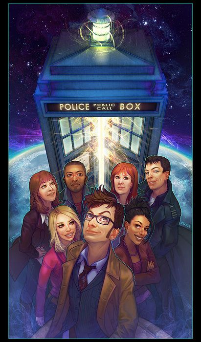Back row Sarah Jane, Mickey, Donna, Captain Jack(the face of bo)  Middle row Rose, Martha Front the doctor!