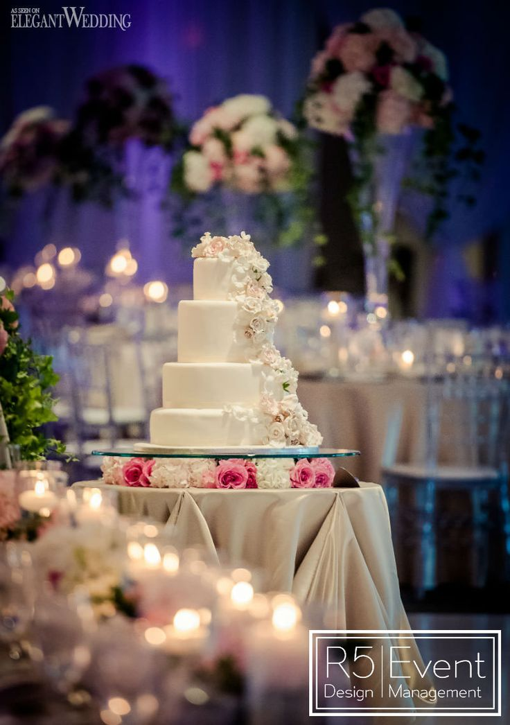 Wedding cake with real roses and sugar flowers! Pink Secret Garden Wedding, featured on the @elegantwedmag blog! Full service event decor & Flowers by R5 Event Design