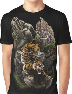 Royal Tiger Descends Mountain Graphic T-Shirt