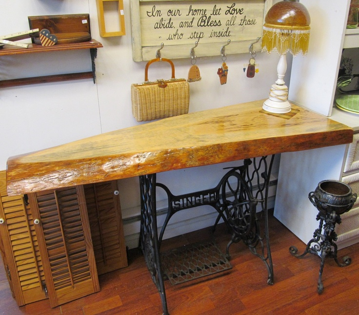 Industrial Media Bohemian TABLE Console Buffet Sideboard Desk Reclaimed Raw  Wood Slab SALVAGED Upcycled Cast Iron Antique Sewing Base WHAGN