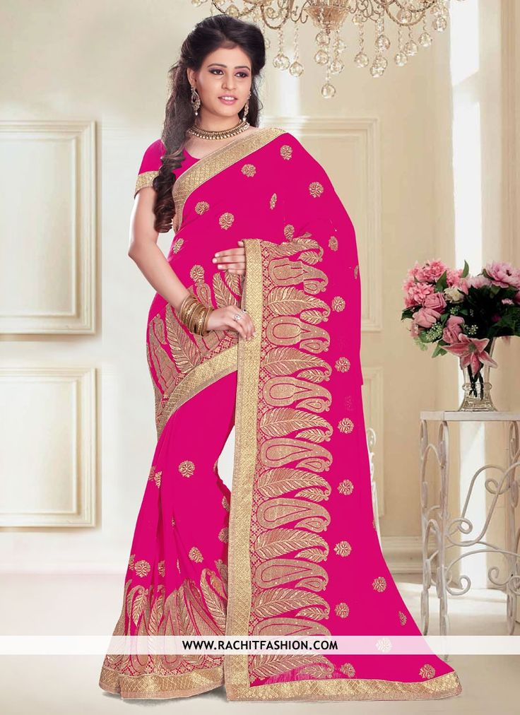 Shop for Magnetic Chiffon Refreshing Saree In Pink Colour.