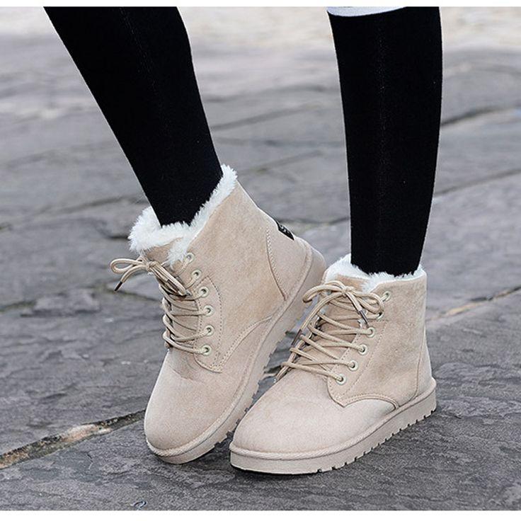Купить Женщин зимние ботинки femininas новый мех снегоступы женская зимняя мода…