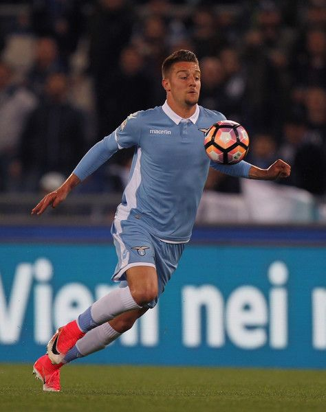 Sergej Milinkovic of SS Lazio in action during the Serie A match between SS Lazio and SSC Napoli at Stadio Olimpico on April 9, 2017 in Rome, Italy.