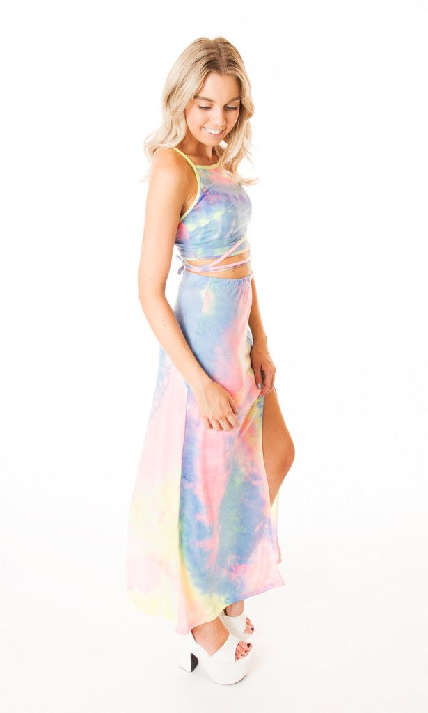 Rainbow Tie Dye Maxi Skirt and Crop Top Set Click to buy now