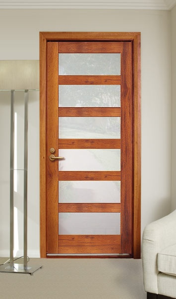 Corinthian Doors - Infinity - INF6G - Merbau stain with translucent glass