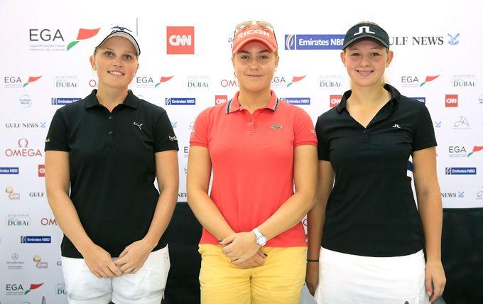 Nanna Koerstz Madsen, Charley Hull Emily and Kristine Pedersen at the Press conference at Emirates Golf Club #golf #golfuae