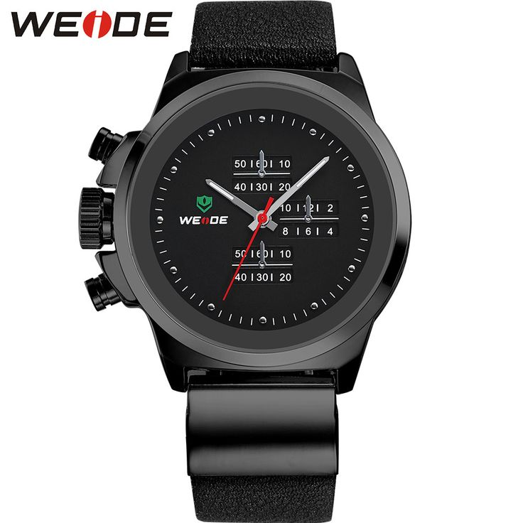 Popular Men Watches Fashion Analog Quartz Sports Watch Waterproof Black Dial Clock Leather Strap