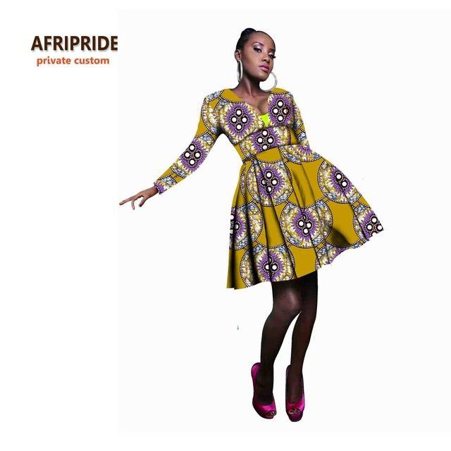 Vestido de festa para as mulheres sexy lady moda estilo africano africano femme roupas casuais impressão de cera de algodão plus size A722501