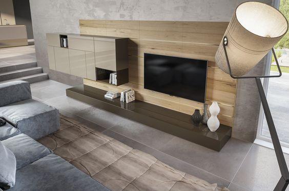 Natural knotted split oak living area, asymmetrical volumes and horizontal slats.