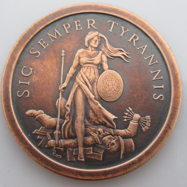 $16.50 Sig Semper Tyrannis 1 oz .999 Pure Copper Challenge Coin (Black Patina)