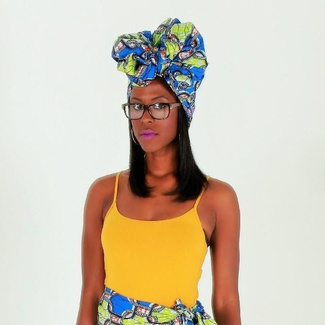 Blue And Green African Print Headwrap ~ The donna forte
