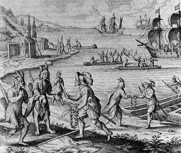 early settlers | Encounter between John Guy and the Beothuk people in 1612, engraving ...