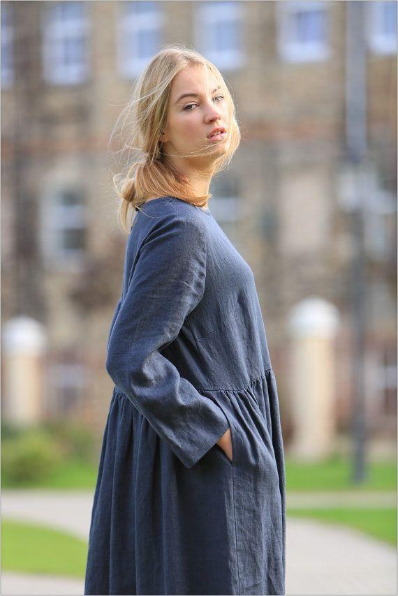 Linen dress. Long sleeved linen dress. Comfortable Womens Linen dress. Natural flax dress