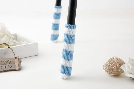Blue and white chair socks by SeedCare on Etsy
