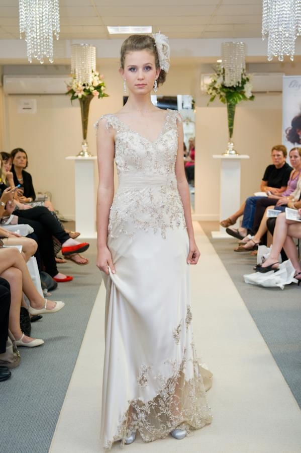 Elizabeth de Varga Glamour gown silk charmeuse with Swarovski crystal and pearl beaded lace