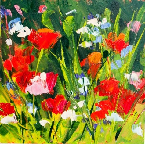 KMD2826 Springtime Bounty 6x6, original oil, floral, poppy painting by Kit Hevron Mahoney, painting by artist Kit Hevron Mahoney: Originals Oil, Art Nouveau, Springtim Bounty, Mahoney Art, Kits Hevron, Bounty 6X6, Hevron Mahoney, Life Artists, Poppies Paintings