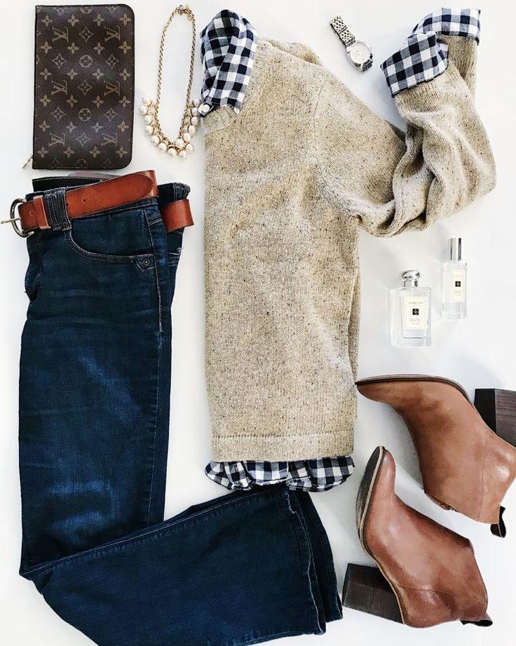 Gold sweater, buffalo check button down, dark denim, leather booties and Louis Vuitton clutch. #womensfashion
