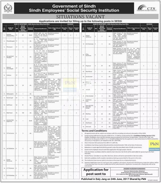 Breaking News: 191 Government Jobs of BPS-16 and 33 Jobs of BPS-17 for Sindh Nurses Announced on 24th June 2017   Sindh Employees Social Security Institution (SESSI) Karachi has announced hundreds of Jobs for medical professionals on 24th June 2017 in Daily Jang. Sister Nurses BPS-17: 33 Posts Qualification: RN RM Dip Teaching Admin./Ward Admin. (Unfortunately Post-RN BScN or Generic BSN are not Mentioned) Experience: 3 Years Staff Nurses BPS-16: 91 posts Qualification: RN RM (RM not…