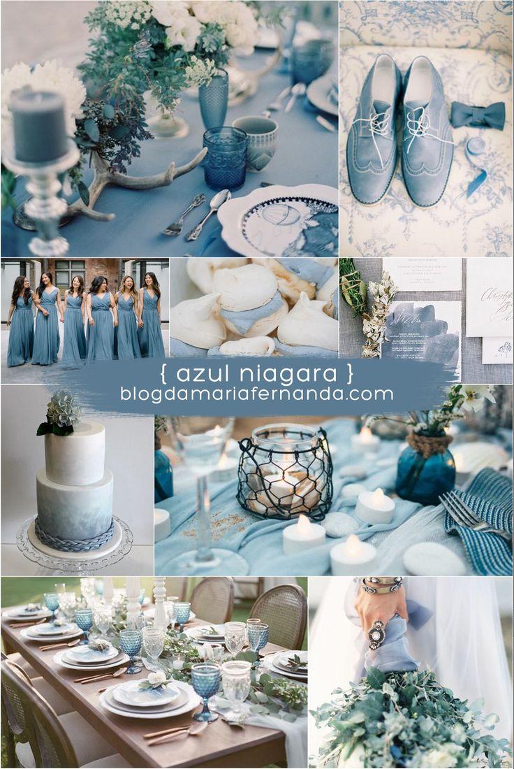 Decoração de Casamento : Paleta de Cores Azul Niagara | Blog de Casamento DIY da Maria Fernanda