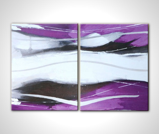 Modern painting - multi panel contemporary art - abstract art - stretched painting ready to hang painting. $150.00