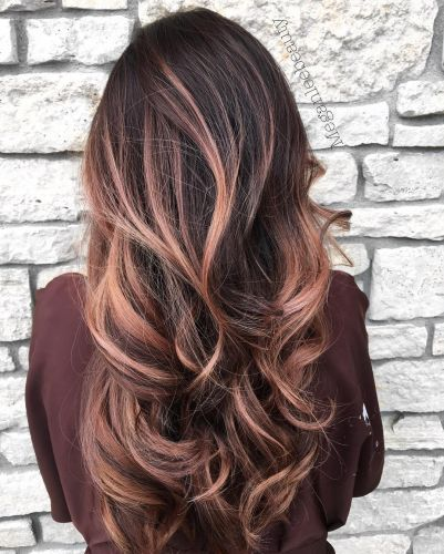 Long wavy brunette hair with rose gold balayage highlights alt = – My Style