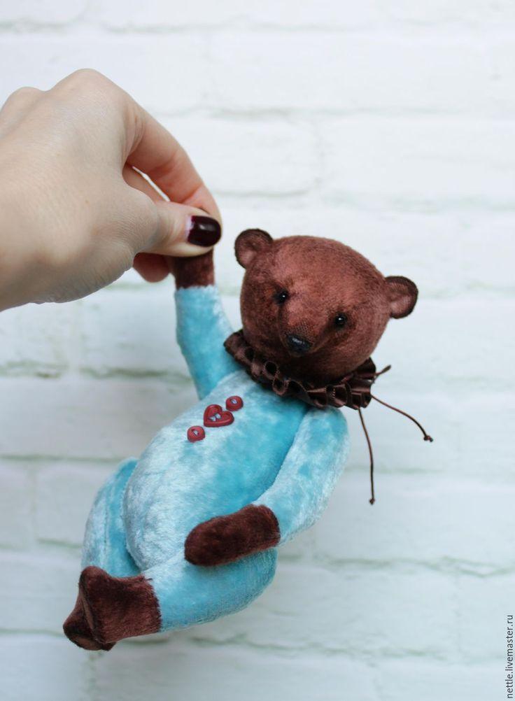 Купить Лукас - комбинированный, бирюза и шоколад, мишка, мишка тедди, мишка ручной работы