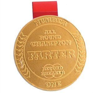 Champion Farter Chocolate Medal by box. $2.50. Comes with a red ribbon, so you can hang it around a neck. Please note: Product contains milk and soya and may contain traces of nuts. Contains Cocoa solids 30% minimum, Milk solids 14% minimum. 23g Milk chocolate gold medal. To be awarded to 'Number 1 All Round Champion Farter'. Champion Farter Milk Chocolate MedalThis light-hearted Chocolate Gold Medal can be proudly presented to the most dedicated trumping trumpers! Made of 2...